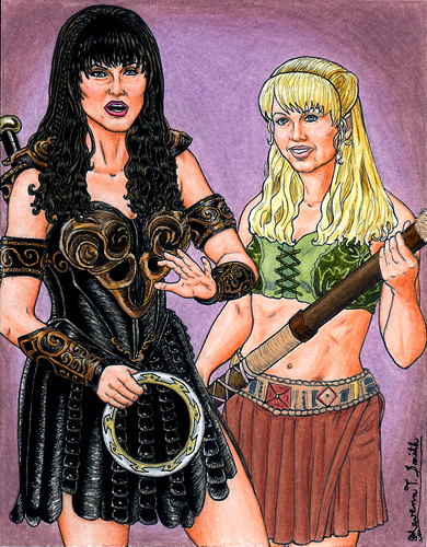 Xena and Gabrielle by Kevenn T. Smith