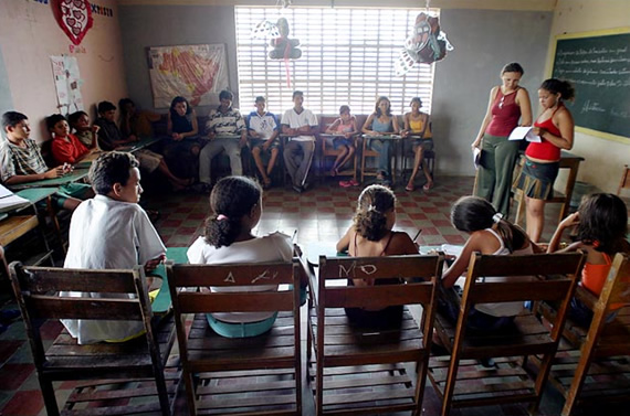 Volunteers in a classroom