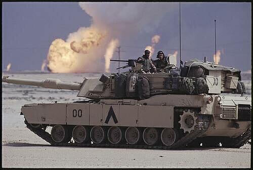 A US Tank in the burning oil fields of Kuwait